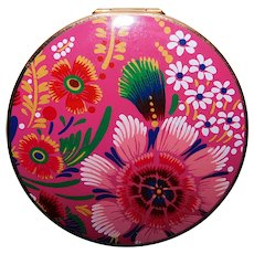 Fabulous STRATTON Pink Flowers Vintage Powder Compact