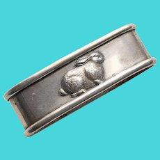 Antique RABBIT Sterling Oval Napkin Ring - Napkin Holder for Adult or Child