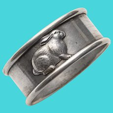 Antique RABBIT Sterling Round Napkin Ring - Napkin Holder for Adult or Child