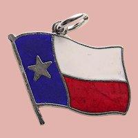 Sterling & Enamel TEXAS FLAG Vintage Estate Charm - Lone Star State Souvenir