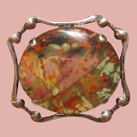Fabulous STERLING & JASPER Vintage Brooch - Colorful Natural Stone