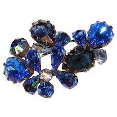 Fabulous REGENCY Signed Vintage Shades of Blue Rhinestone Brooch