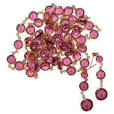 Fabulous PURPLE CRYSTAL Bezel Edge Set Stones Vintage Necklace & Dangle Earrings Set