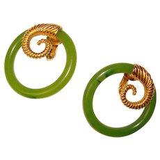 Fabulous TRIFARI Green Ring Design Vintage Clip Earrings