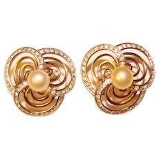 Gorgeous TRIFARI Signed Faux Pearl Rhinestone Vintage Clip Earrings