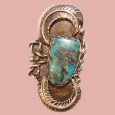 Fabulous Sterling & Turquoise Vintage Estate Pendant