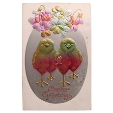 Antique CHICKS in Love Easter Postcard - Circa 1910