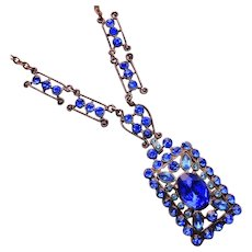 Fabulous Art Deco Bright Blue Stones Pendant Necklace