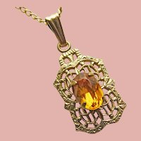 """Tiny Art Deco Amber Glass Filigree Pendant Necklace - 3/4"""" by 5/16"""" For Your Doll or You"""