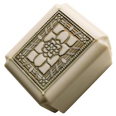 Gorgeous Art Deco Cream Celluloid Ring Presentation Jewelry Box - Black Velvet Inside - Engagement Wedding Friendship Love