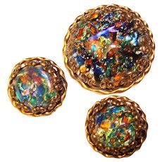 Fabulous AUSTRIA Colorful Dragons Breath Glass Stones Vintage Brooch Set