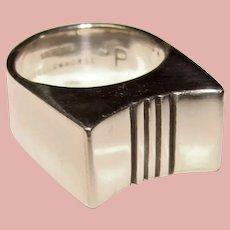 Fabulous STERLING MODERNIST Design Signed Estate Ring