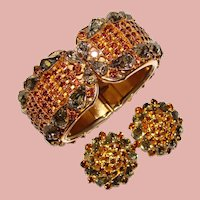 Fabulous Smoke & Brown Rhinestone Vintage Clamper Bracelet Set