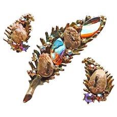Fabulous HAR Dragon Tooth Rhinestone Brooch & Earrings Set - Fantasy Stones