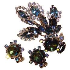 Fabulous Beau Jewels Signed Blue Watermelon Rhinestone Vintage Brooch Set - BeauJewels