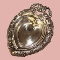 Gorgeous Sterling Reed & Barton HEART DESIGN Vintage Nut Candy or Pin Dish