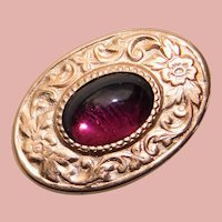 """Tiny Antique Purple Glass Mini Sash Pin Brooch - 13/16"""" by 9/16"""" - For Your Doll"""