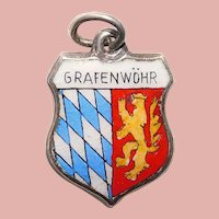 Sterling & Enamel GRAFENWÖHR Charm - Souvenir of Grafenwoehr Germany - Travel Shield