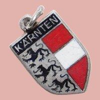 800 Silver & Enamel KÄRNTEN Charm - Souvenir of Austria - Travel Shield