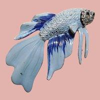 Fabulous 1940s FANCY FISH Vintage Brooch - Enamel Painted Figural