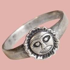 Awesome Sterling SUN FACE Vintage Ring - Size 9 1/4