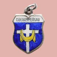 Vintage 835 Silver & Enamel OBERAMMERGAU Charm - Souvenir of Germany - Travel Shield