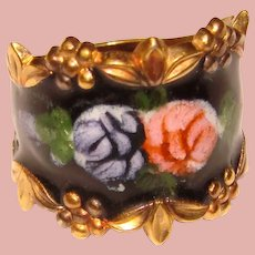Gorgeous STERLING ENAMEL Vintage Wide Band Ring