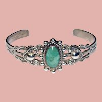 Fabulous STERLING & TURQUOISE Vintage Cuff Bracelet