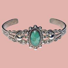 Fabulous STERLING & TURQUOISE Vintage Cuff Bracelet