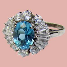 Fabulous Sterling BLUE & CLEAR Stones Ring