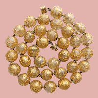 Fabulous ART DECO Era Gold Washed Venetian Glass Beads Necklace