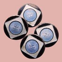 Art Deco F&B Sterling Blue Black & White Enamel Cufflinks - Foster & Bailey