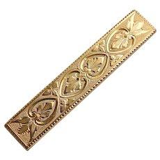 Fabulous VICTORIAN Antique Ornate Engraved Design Brooch - Bar Pin Shape
