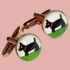 Awesome SCOTTY DOG Terrier Bubble Glass Vintage Cufflinks - Domed