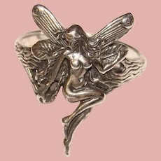 Fabulous STERLING Winged Fairy Design Ring
