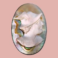 Antique Sterling MERCURY Cameo Brooch - Mother of Pearl and Abalone- Roman God - Mythology