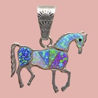 Sterling HORSE Pony Lab Created Opal Pendant