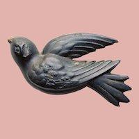 Fabulous VICTORIAN BIRD Antique Mourning Brooch - Gutta Percha or Vulcanite