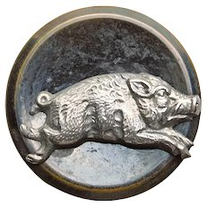 Antique RUNNING PIG Picture Story Button