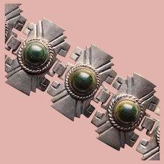 Fabulous MEXICAN SILVER Vintage Green Stones Bracelet - 90 Grams - Wide Links