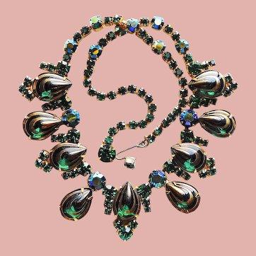Fabulous D&E JULIANA Green Rhinestone Poured Glass Stones Vintage Necklace