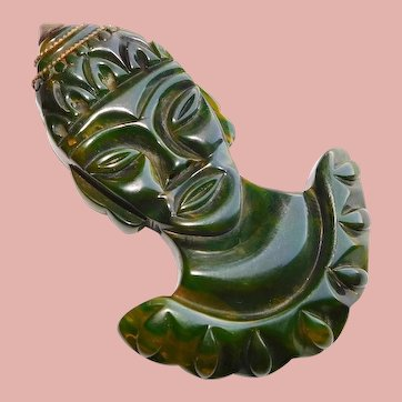 Fabulous GREEN BAKELITE Carved Exotic Princess Face Brooch - Large Figural