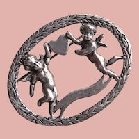Gorgeous CHERUBS IN LOVE Angels Sterling Vintage Brooch - Cupids and Heart