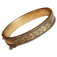 Fabulous VICTORIAN Antique Hinged Bangle Bracelet - Laurel Leaf Design