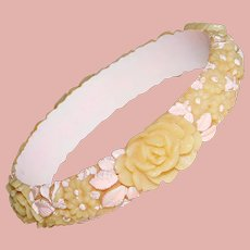 Gorgeous CELLULOID Flowers Vintage Bangle Bracelet - With Painted Pink Accents