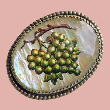 Gorgeous GOOFUS GLASS Grapes Antique Brooch