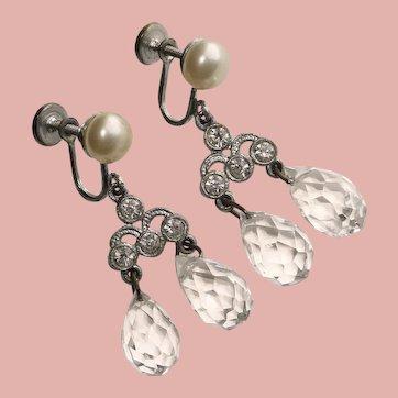 Fabulous ART DECO Rhinestone & Briolette Crystal Dangle Flapper Earrings