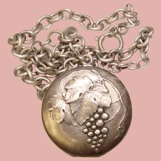 Fabulous VICTOR MAYER 800 Silver Grape Design Locket Necklace - Early Germany
