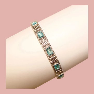 Fabulous Sterling ART DECO Aqua Stones Vintage Bracelet