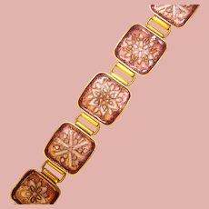 Fabulous Gertrud Fries-Arauner Enamel Bracelet – Unsigned Mid Century